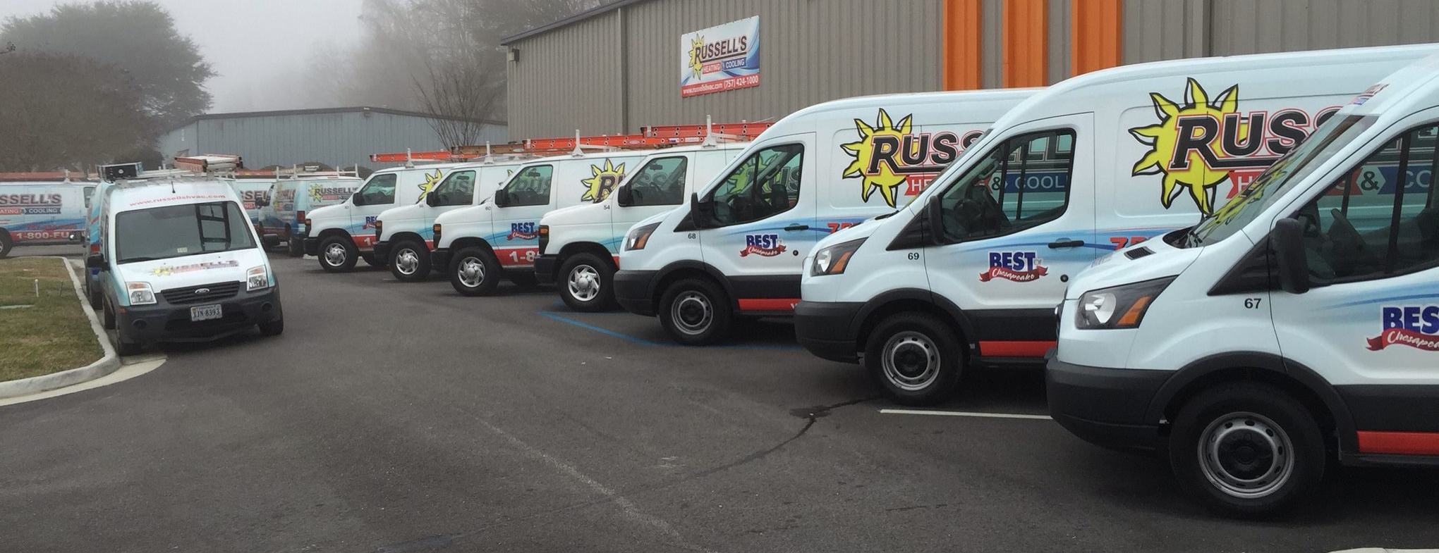 Russell's Heating & Cooling of Chesapeake, VA service fleet. Service today or it is free.