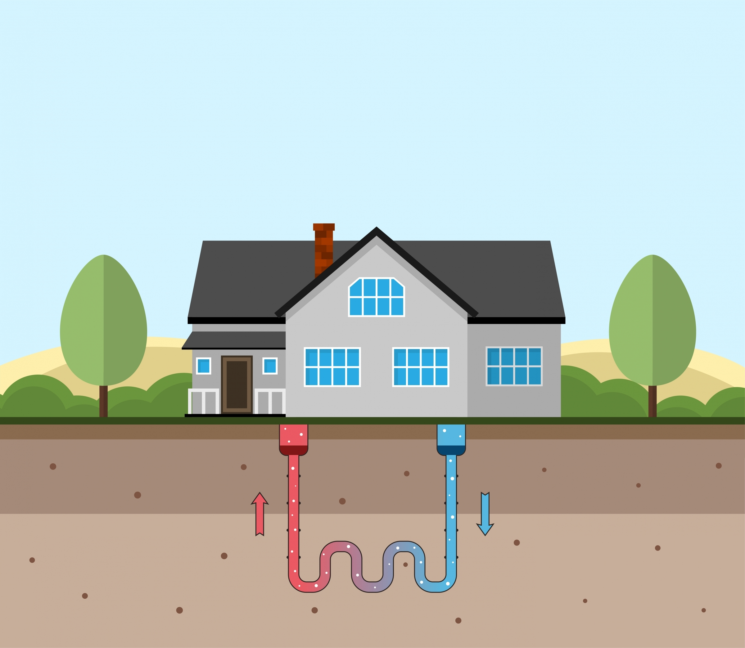 geothermal heated home illustration